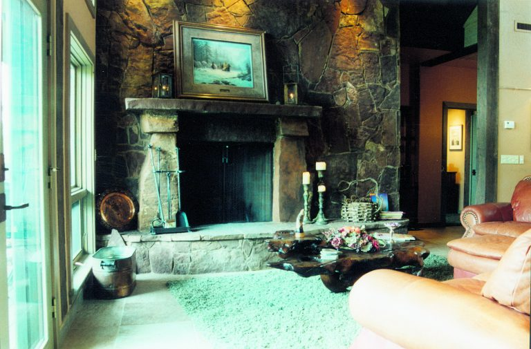 All natural stone fireplace.